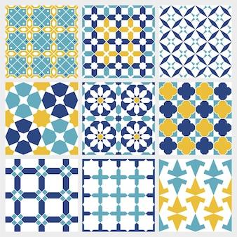 Tradycyjne arabskie tło islamskie. elementy dekoracji meczetu. zestaw wzór.