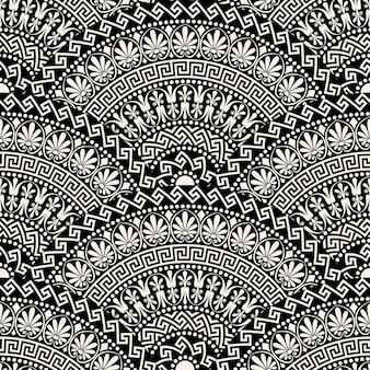 Tradycyjne bez szwu vintage ciemne elementy ozdobne w kształcie wachlarza z greckimi wzorami, meander