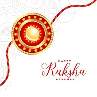 Tradycyjne białe powitanie raksha bandhan z realistycznym wzorem rakhi