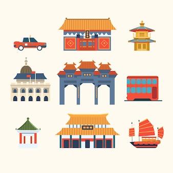 Tradycyjne chińskie budynki, elementy podróży hongkong. zestaw