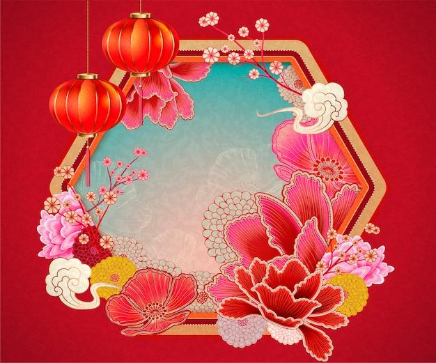 Tradycyjne chińskie tło z elementami piwonii i latarniami w kolorze czerwonym