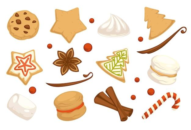 Tradycyjne ciasta i wypiekane desery na święta bożego narodzenia. świąteczne menu świąteczne. piernikowe ciasteczka z lukrem i rodzynkami. cynamon i cukierki, ptasie mleczko i jagody. wektor w stylu płaskiej