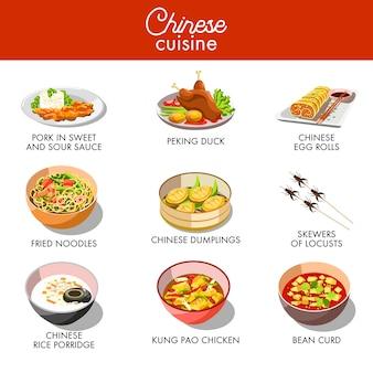 Tradycyjne dania kuchni chińskiej wektor płaski zestaw ikon