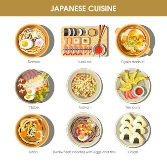 Tradycyjne dania kuchni japońskiej wektor płaski zestaw ikon