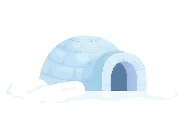 Tradycyjne igloo ze śniegu w stylu kreskówki na białym tle