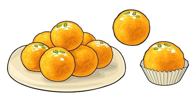 Tradycyjne indyjskie słodycze ladoo w talerzu. płaska ilustracja