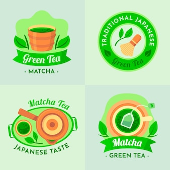 Tradycyjne japońskie etykiety zielonej herbaty matcha