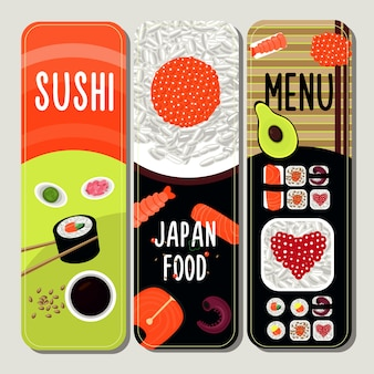 Tradycyjne japońskie jedzenie banery pionowe