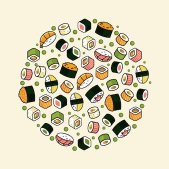 Tradycyjne japońskie jedzenie, sushi w rolkach, owoce morza. tło.