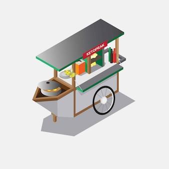 Tradycyjne jedzenie ulicy ketoprak koszyka izometryczny ilustracja