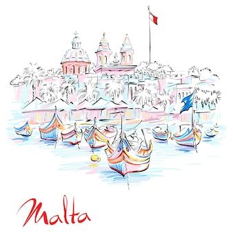 Tradycyjne łodzie luzzu w marsaxlokk, malta