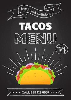 Tradycyjne meksykańskie fast foody menu tacos