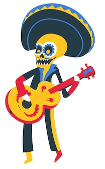 Tradycyjne meksykańskie święto zmarłych, muzyk grający na gitarze. męska postać nosi kostium szkieletu z instrumentem muzycznym w kapeluszu sombrero i makijażu. wektor w stylu płaskiej