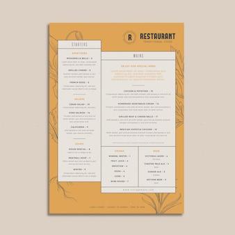 Tradycyjne menu restauracji w stylu vintage