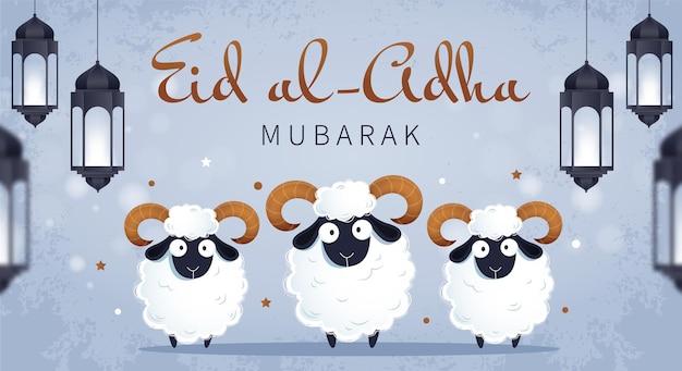 Tradycyjne muzułmańskie święto id al-adha. białe barany i wiszące lampy.