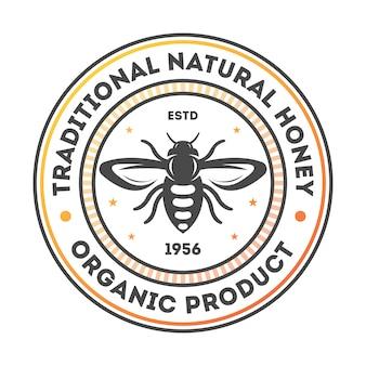 Tradycyjne naturalne miód vintage etykieta na białym tle