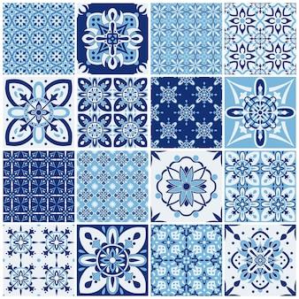 Tradycyjne ozdobne płytki portugalskie. wzór do projektowania tekstyliów. mozaika geometryczna, majolika.