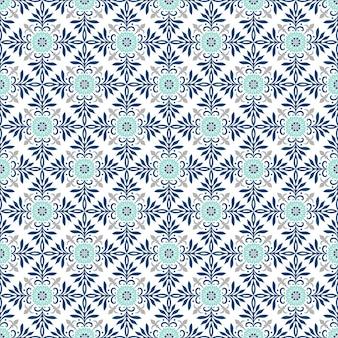 Tradycyjne Ozdobne Portugalskie Płytki Azulejos. Etniczny Ornament Ludowy. Vintage Wzór. Majolika. Premium Wektorów