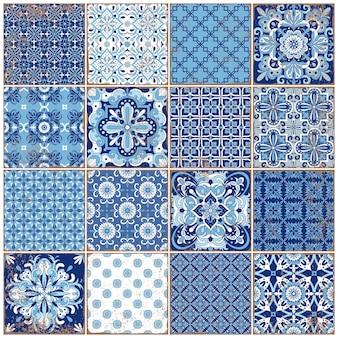 Tradycyjne ozdobne portugalskie płytki azulejos. vintage wzór do projektowania tekstyliów. mozaika geometryczna, majolika. geometryczny wzór. dekoracyjne tło. vintage kwiatowy wzór.
