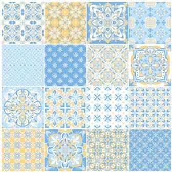 Tradycyjne ozdobne portugalskie płytki azulejos. vintage wzór do projektowania tekstyliów. mozaika geometryczna, majolika. geometryczny wzór. dekoracyjne tło wektor. vintage kwiatowy wzór.