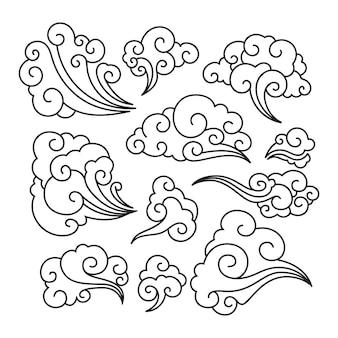 Tradycyjne Ozdoby Chmurki W Języku Chińskim Premium Wektorów