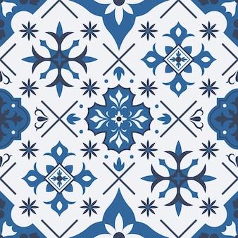 Tradycyjne płytki ceramiczne azulejo, talavera śródziemnomorskie wzór. ilustracja wektorowa porcelany ceramiczne płytki etniczne. wzór płytki patchworkowej. płytki tradycyjne ceramiczne, portugalskie talavera
