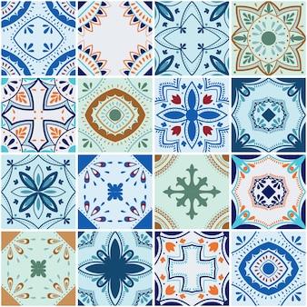 Tradycyjne portugalskie kwiecisty ozdobny kolor płytki azulejos. abstrakcyjne tło. wektor ręcznie rysowane ilustracja, typowe portugalskie kafelki, płytki ceramiczne. wzór.