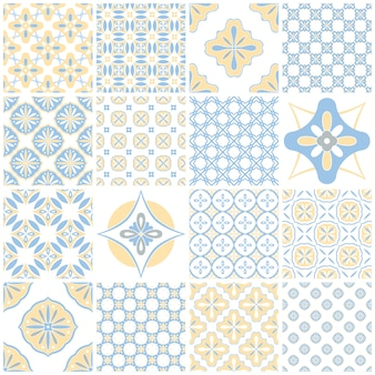 Tradycyjne portugalskie ozdobne płytki azulejos. vintage wzór do projektowania tekstyliów. geometryczna mozaika, majolika. bezproblemowa geometryczny wzór. dekoracyjne tło. vintage kwiatowy wzór.