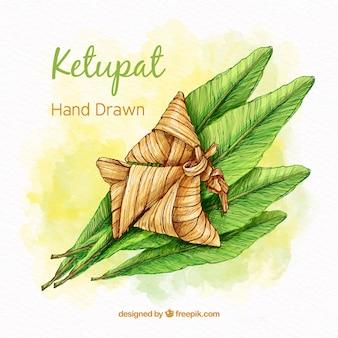 Tradycyjne ręcznie rysowane skład ketupat