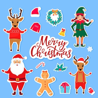 Tradycyjne świąteczne i noworoczne postaci z kreskówek i przedmioty do tworzenia zaproszeń, kartek, plakatów do świętowania. zestaw naklejek