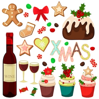 Tradycyjne świąteczne potrawy i desery sezonowe pierniki. świąteczne potrawy zimowe słodkie tradycyjne dekoracje. pyszne ciasto świąteczne domowe świąteczne jedzenie deserowe symbole xmas