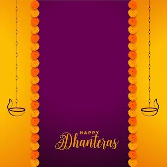 Tradycyjne szczęśliwe tło dhanteras z dekoracją kwiatową nagietka