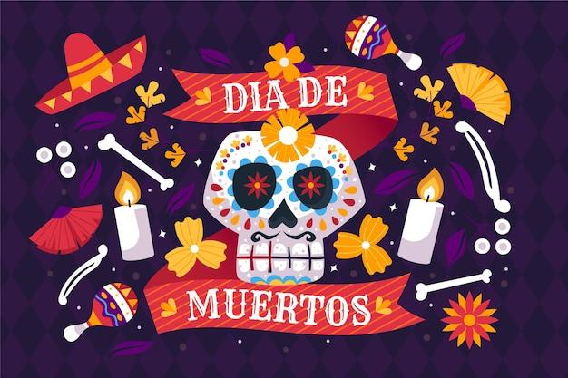 Tradycyjne tło dia de muertos