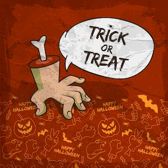 Tradycyjne tło halloween z ramieniem zombie chmury mowy i przerażającymi ikonami linii