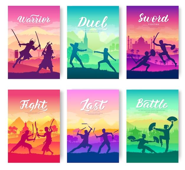 Tradycyjne walki z zestawem kart broszury broni. szablon flyear charakter bitwy stylu walki.