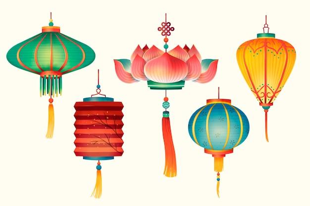 Tradycyjne wzornictwo lampionów w ręcznie rysowane stylu na jasnobeżowym tle