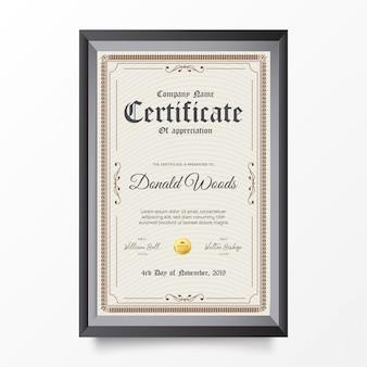 Tradycyjny certyfikat pionowy z ozdobami