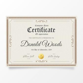 Tradycyjny certyfikat z klasyczną ramą
