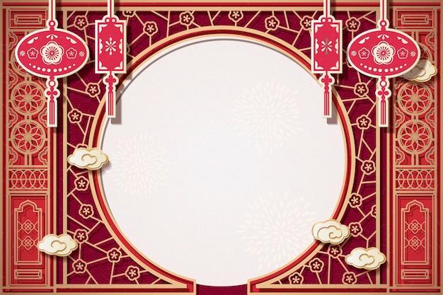 Tradycyjny chiński ogród tło okna z miejsca na kopię