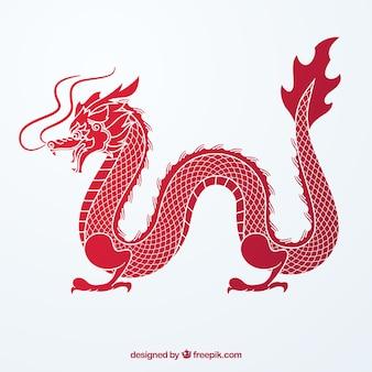 Tradycyjny chiński smok z sylwetka projektu