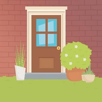 Tradycyjny dom drzwi projekt wektor ilustrator