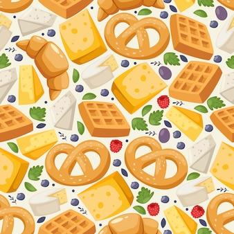 Tradycyjny europejski karmowy bezszwowy wzór, ilustracja. projekt nadruku na papierze pakowym, pyszne ciasto i nabiał. świeżo upieczony precel, gofr, rogalik i ser