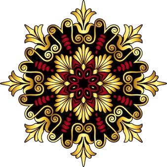Tradycyjny grecki ornament vintage złoty i czerwony okrąg