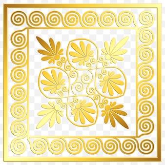 Tradycyjny grecki ornament vintage złoty kwadrat