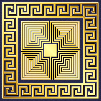 Tradycyjny grecki złoty ornament vintage, meander
