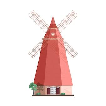 Tradycyjny holenderski wiatrak na białym tle