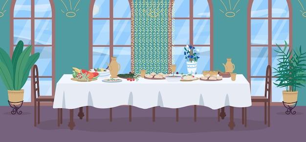 Tradycyjny indyjski posiłek płaski kolor ilustracja