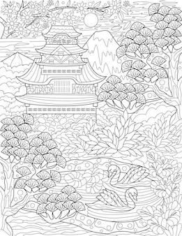 Tradycyjny japoński dom nad jeziorem z łabędziami i drzewami bezbarwny rysunek linii stary azjatycki
