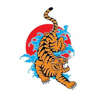 Tradycyjny japoński tatuaż tygrysa