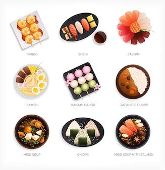 Tradycyjny japoński zestaw żywności